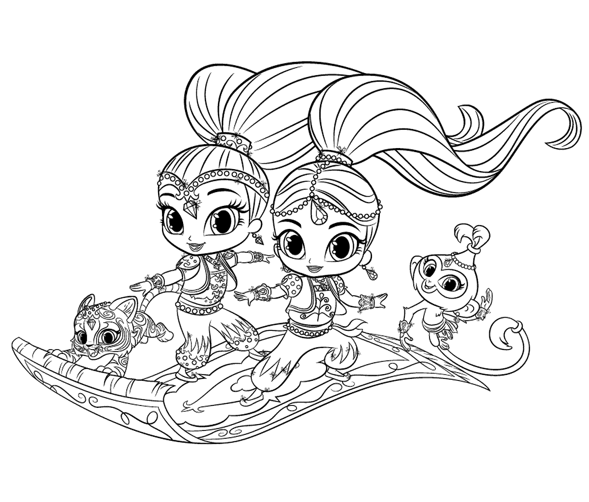 12 Free Printable Shimmer and Shine Coloring Pages - 1NZA